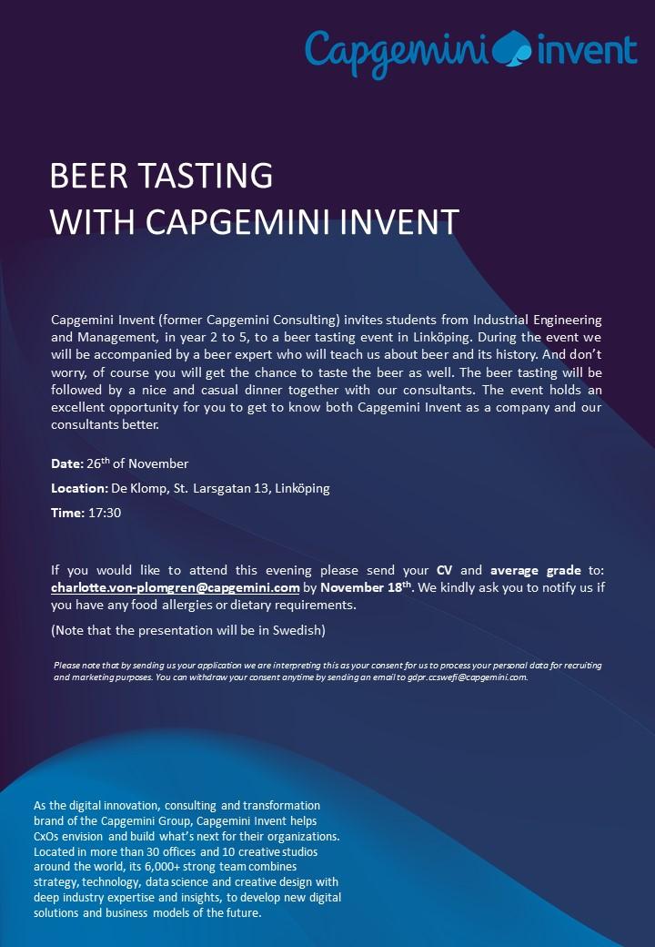 Capgemini Invent Beer Tasting